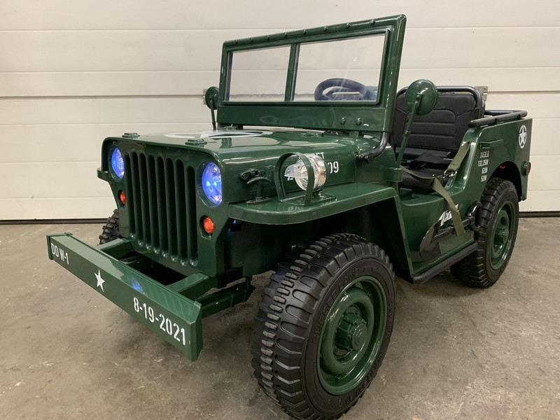 Jeep électrique willys army (3 places) - vert